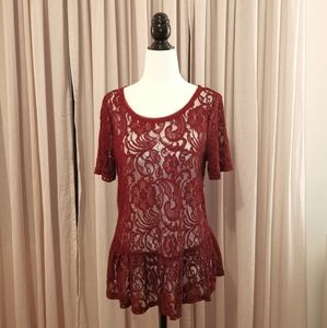 4/$20 Joe Fresh burgundy lace top